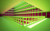 Square atrium with balconies and columns — Stock Photo