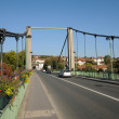 Stock Photo: France, suspension bridge of Triel Sur Seine
