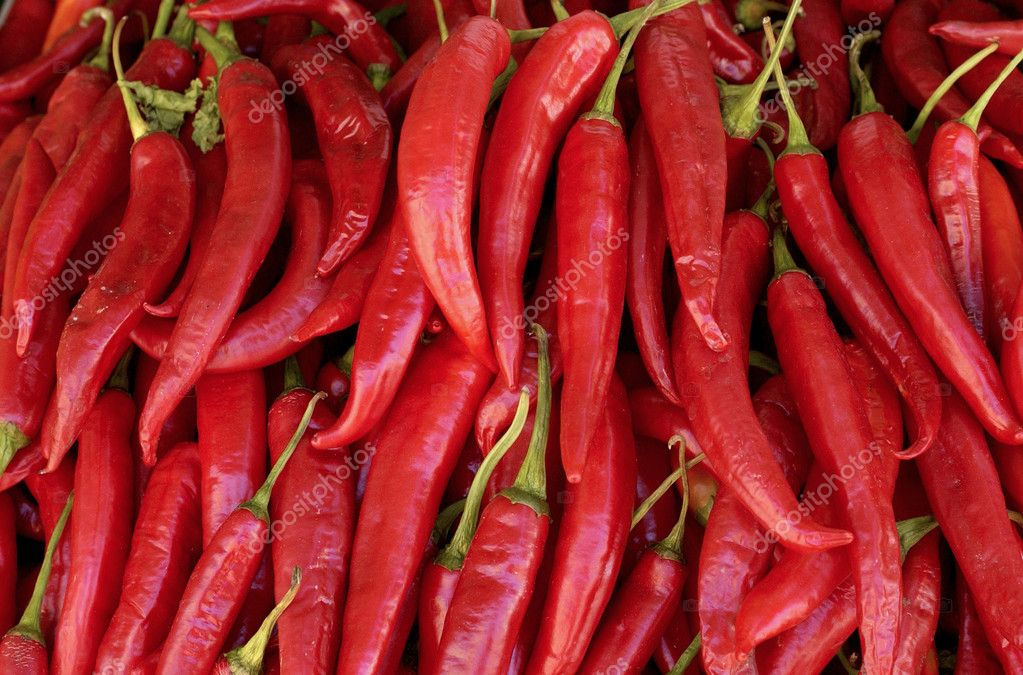 Red hot peppers on the market  Stock Photo #8307451