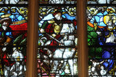 Stained glass window in the church of Triel — Stock Photo