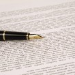 Close up of a fountain pen on a sheet of paper — Stock Photo