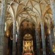 Portugal, interior of Jeronimos monastery in Lisbon - Stock Photo