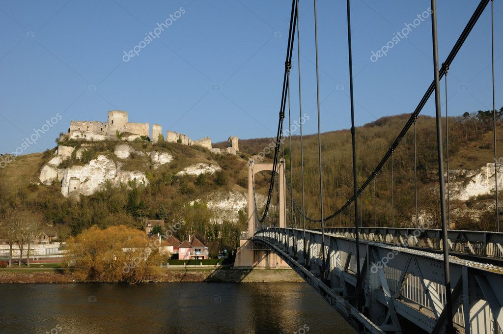 France, suspension bridge of Les Andelys in Normandie  Stock Photo #9082389