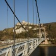 Stock Photo: France, suspension bridge of Les Andelys in Normandie
