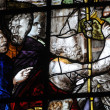 France, stained glass window in the church Saint Martin of Triel — Stockfoto
