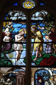 France, stained glass window in the church Saint Martin of Triel — Stock Photo