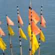 Little flags using by fishermen — Stock Photo