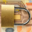 Close up of a padlock on Euro banknote — Stockfoto