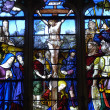 Stock Photo: France, stained glass window in church Saint Martin of Triel