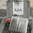 Foto Stock: Triple wrote on old tomb