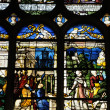 France, stained glass window in the cathedral of Pontoise - Foto Stock