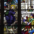 France, stained glass window in the church Saint Martin of Triel - Stock Photo