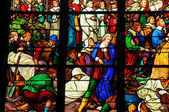 France, stained glass window in the cathedral of Pontoise — Stockfoto