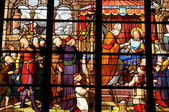 France, stained glass window in the cathedral of Pontoise — Stock Photo