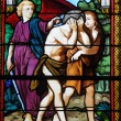 Stock Photo: France, stained glass window in church of Les Mureaux