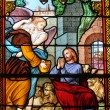 Stockfoto: France, stained glass window in church of Les Mureaux