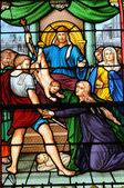 France, stained glass window in the church of Les Mureaux — Stock Photo