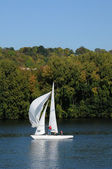 France, Les Mureaux, sailing boat on Seine river — Stock Photo