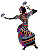 Dance - Woman in ethnic clothes dancing — Stock Vector