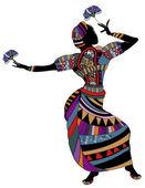 Dance - Woman in ethnic clothes dancing — Stock Vector