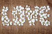 Word love made from flowers — Stock Photo