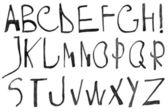 Hand written black ink alphabet — Stock Photo