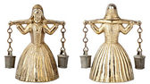 Vintage brass bell shape of a woman with a yoke — Stock Photo