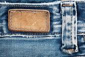 étiquette de jeans en cuir blanc — Photo