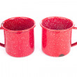 Two vintage red metal cups — Stock Photo #8283916