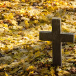 A cross monument in a cemetery — Stock Photo