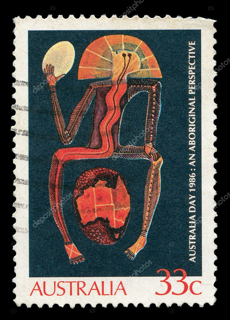 AUSTRALIA - CIRCA 1986 : A stamp printed in Australia shows Aboriginal painting, circa 1986 — Stock Photo #8284529