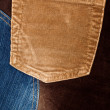 Corduroy and jeans fabric textures — Stock Photo