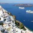 Volcano view from Fira, Santorini, Greece — Stock Photo