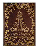 Fondo de cuero marrón con oro decoraciones florales de Navidad — Foto de Stock
