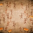 Prehistoric cave painting with war scene — Stock Photo #8311863