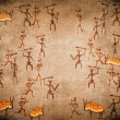 Prehistoric cave painting with war scene — Stock Photo