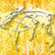 Honeycombs yellow abstract background with interconnected world map — Stock Photo
