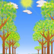 Sunny landscape with trees — Stock Photo #8312448