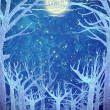 Blue forest and full moon — Stock Photo #8312486