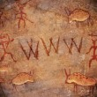 Prehistoric world wide web cave paint — Lizenzfreies Foto