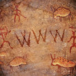 Prehistoric world wide web cave paint — Stock Photo