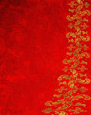 Red abstract background with circles and golden floral decoration — Stock Photo