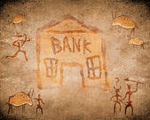 Prehistoric cave painting with bank — Stock Photo