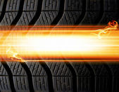 Tire and flames background — Foto Stock