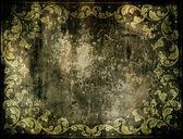 Vuile grunge achtergrond met florale decoratie — Stockfoto
