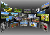 Pictures collage on wide screen — Stock Photo