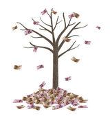 Vysoce kvalitní strom a klesající eurobankovky — Stock fotografie