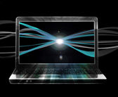 Background with laptop and internet stream — Stok fotoğraf