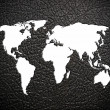 Black leather world map — Stock Photo
