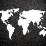Black leather world map — Stock Photo